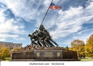 Washington DC, USA -Circa November 2012.  Marine Corps War Memorial, or Iwo Jima memorial, honors US Marines who died for their country