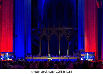 Washington, DC / USA - December 11, 2018: Apollo 8 astronaut James Lovell speaks at Washington National Cathedral for the 50th anniversary celebraton of the Apollo 8 space mission