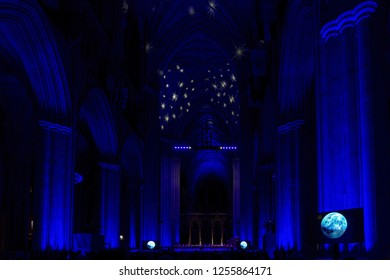 Washington, DC / USA - December 11, 2018: Washington National Cathedral celebrated the 50th anniversary of the Apollo 8 space mission.