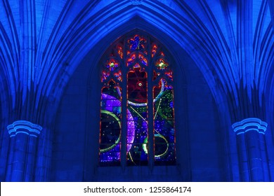 Washington, DC / USA - December 11, 2018: the Space Window at Washington National Cathedral was lit up for an evening celebration of the 50th anniversary of the Apollo 8 space mission.