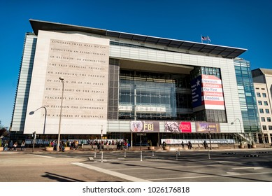 WASHINGTON DC USA - DECEMBER 12: facade of the famous Newseum in Pennsylvania Ave on December 12, 2017 in Washington, DC