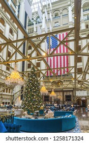 Washington, DC / USA - December 14, 2018: the lobby of the Trump International Hotel in Washington, DC is tastefully decorated for the holidays.