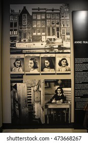 Washington DC, USA - DECEMBER 19, 2015: Anne Frank pictures in the Holocaust Memorial Museum. Real pictures of the deported Jews, Nazi propaganda, territory of conquest.