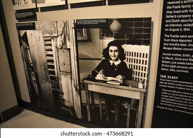 Washington DC, USA - DECEMBER 19, 2015: Anne Frank picture in the Holocaust Memorial Museum. Real pictures of the deported Jews, Nazi propaganda, territory of conquest.