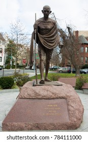 WASHINGTON DC, USA - DECEMBER 19, 2014: A public monument of Mohandas Gandhi installed in front of the Embassy of India in Washington DC.