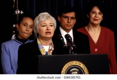 Washington, DC., USA, December 20, 1996 Janet Yellen makes brief remarks after being named as President William Clinton's nominee to chair the council of econmic advisors.