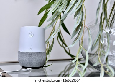 WASHINGTON DC, USA - DECEMBER 24, 2018: A google home smart device displayed inside a residential home.