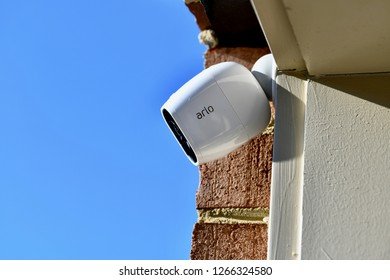 WASHINGTON DC, USA - DECEMBER 24, 2018: An Arlo wireless security camera displayed on the outside of a home.