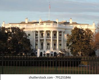 Washington, DC / USA - December 26 2017: US president's house and office White house view in Washington DC USA