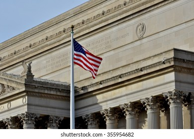 WASHINGTON DC, USA - DECEMBER 27, 2015: Monuments and flags at the National Mall. The National Mall is a national park in downtown Washington, D.C.