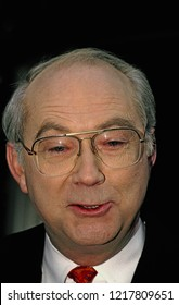 "Washington, DC., USA, December 31, 1995 Senator Phil Gramm (Republican) from Texas talks outside the ABC studios after his appearance on the Sunday morning talk show ""This Week with David Brinkley""."