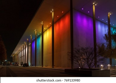 WASHINGTON, DC, USA - DECEMBER 4, 2017: The Kennedy Center is illuminated in a rainbow spectrum for the Kennedy Center Honors.