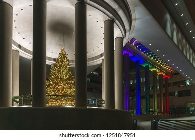 Washington, DC / USA - December 6, 2018: The Canadian Embassy in Washington, DC had a reception for LGBTQ leaders and lit itself in a rainbow of colors for the occasion.