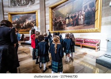 Washington, DC / USA Feb 5, 2019 Kids from a private school in MD visiting one of the galleries of the Capitol Visitor Center.