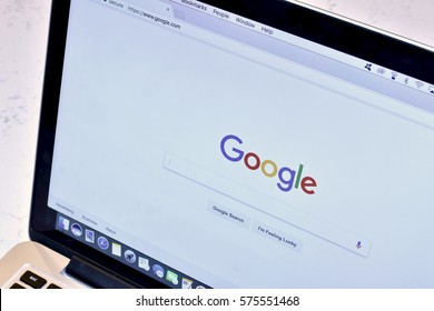 WASHINGTON DC, USA - FEBRUARY 09, 2017: An Apple MacBook Pro displaying a Google search on the Google Chrome browser.