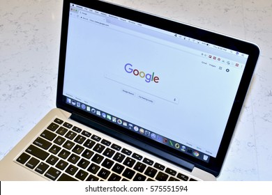 WASHINGTON DC, USA - FEBRUARY 09, 2017: An Apple MacBook Pro displaying a Google search on the Google Chrome browser.