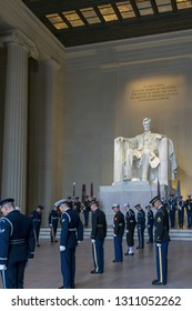 Washington, DC / USA - February 12, 2019: On the 201th birthday of President Abraham Lincoln, a Military Honor Guard conduced a wreath-laying ceremony inside the chamber of the Lincoln Memorial.