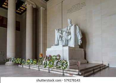 WASHINGTON, DC, USA -- FEBRUARY 14, 2017: Wreaths are laid at the Lincoln Memorial in commemoration of President Lincoln's 208th birthday and the President's Day holiday.