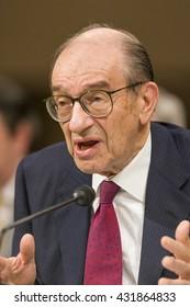 WASHINGTON, DC, USA - FEBRUARY 16, 2005: U.S. Federal Reserve Chairman Alan Greenspan testifies before Congress.