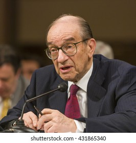 WASHINGTON, DC, USA - FEBRUARY 16, 2005: U.S. Federal Reserve Chairman Alan Greenspan testifies before Congress.