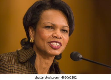 WASHINGTON, DC, USA - FEBRUARY 16, 2005: U.S. Secretary of State Dr. Condoleezza Rice testifies before Senate Foreign Relations Committee in Congress.