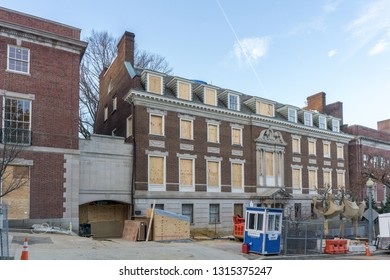 Washington, DC /USA - February 17, 2019: renovation continues on Jeff Bezos' home in an exclusive Washington, DC neighborhood.  The home is the former Textile Museum.