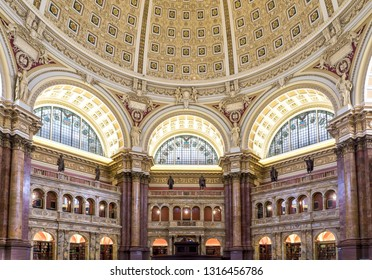 Washington, DC / USA - February 18, 2019: The Main Reading Room of the LIbrary of Congress was open to the public and photos were permitted.  This is the Main Reading Room.