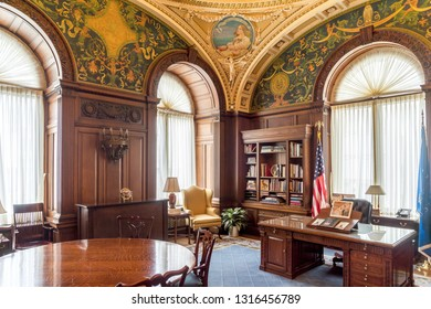 Washington, DC / USA - February 18, 2019: Parts of the LIbrary of Congress were open to the public and photos were permitted.  This is the ceremonial office of the LIbrarian of Congress.