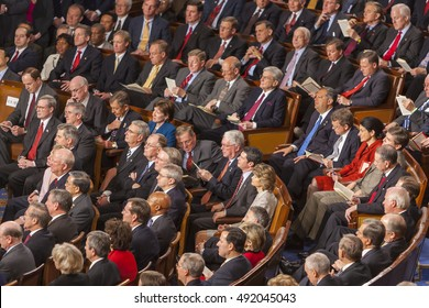 WASHINGTON, DC, USA - FEBRUARY 2, 2005: Members of U.S. Congress look on as President George W. Bush delivers his State of the Union speech before a joint session of Congress.