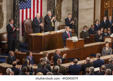 WASHINGTON, DC, USA - FEBRUARY 2, 2005: President George W. Bush delivering his State of the Union speech before a joint session of Congress.