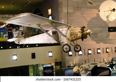 Washington D.C. / USA - February 2018: Spirit of St. Louis, the monoplane that was flown solo by Charles Lindbergh on May 20 – 21, 1927, on the first solo nonstop transatlantic flight