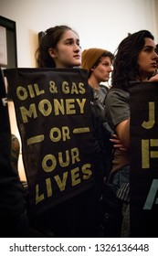 Washington DC. USA. February 25, 2019. Youth activists from Kentucky and across the US occupy the office of Senator Mitch McConnell in protest of his attempts to defeat the Green New Deal.