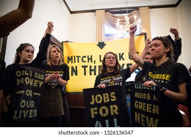 Washington DC. USA. February 25, 2019: Youth activists from Kentucky and across the US occupy the office of Senator Mitch McConnell in protest of his attempts to defeat the Green New Deal.