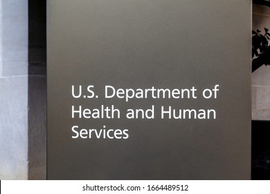 Washington D.C., USA - February 29, 2020: Sign of U.S. Department of Health & Human Services outside their headquarters building in Washington, D.C. USA.