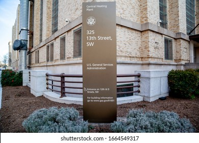 Washington D.C., USA - February 29, 2020: Sign of GSA outside their headquarters in Washington, D.C. The General Services Administration (GSA) is an independent agency of the United States government.