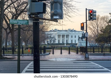 Washington, DC / USA - February 4, 2019: A street in front of the White House is unofficially renamed Jamal Khashoggi Way.