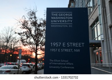 Washington, D.C. / USA - February 5, 2019: The Elliott School of International Affairs, a graduate school at George Washington University, is pictured at sunset on a cold winter afternoon.