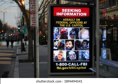 Washington, DC, USA - Jan. 14, 2021: Signs near the White House ask for help in finding the leaders of the Jan. 6 Capitol Hill riots.