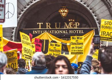 Washington D.C./ U.S.A. - Jan 4, 2020: Protest: No War with Iran