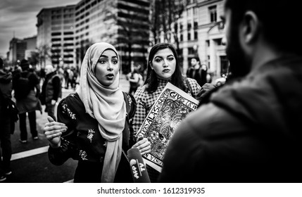 Washington D.C./ U.S.A. - Jan 4, 2020: Protest: No War on Iran (activists speaking)