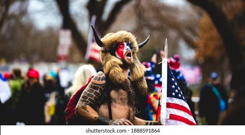 Washington, D.C. | U.S.A. - Jan 6th, 2021: Trump Initiated Riots at the Capitol: QAnon Shaman, Jake Angeli