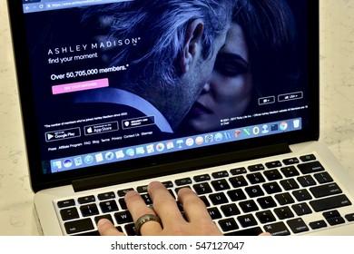 WASHINGTON DC, USA - JANUARY 02, 2017: An Apple Macbook Pro displaying the Ashley Madison dating website.