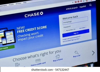 WASHINGTON DC, USA - JANUARY 02, 2016: The Chase bank website displayed on an Apple Macbook Pro laptop screen.