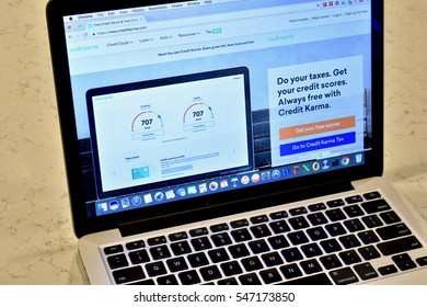 WASHINGTON DC, USA - JANUARY 02, 2017: An Apple Macbook Pro displaying the Credit Karma sign up page for individuals wishing to check their credit score.