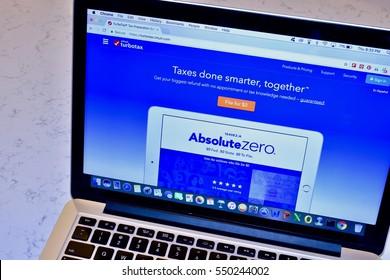 WASHINGTON DC, USA - JANUARY 05, 2017: An Apple Macbook Pro displaying the turbo Tax website.