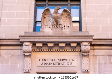 Washington, DC, USA- January 12, 2020: Sign of GSA above the entrance in Washington, DC. TheGeneral Services Administration(GSA) is an independent agency of the United States government.