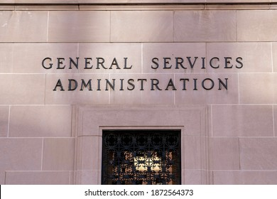 Washington, DC, USA- January 12, 2020: General Services Administration (GSA) sign is seen in Washington, DC. USA. GSA is an independent agency of the United States government.