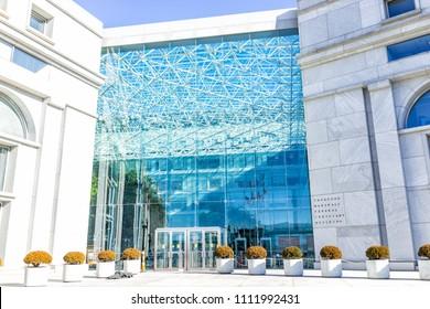 Washington DC, USA - January 13, 2018: US United States Thurgood Marshall Federal Judiciary Building architecture modern building sign, logo, glass windows reflection