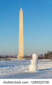 Washington, DC / USA - January 15, 2019: a snowman is on the Naitonal Mall as Washington disg out of a massive winter storm, while the federal government remains shut down.