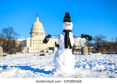 Washington, D.C. / USA - January 15, 2019: A snowman wearing a hat, gloves, sunglasses and a scarf stands on the National Mall in front of the US Capitol building during the government shutdown.